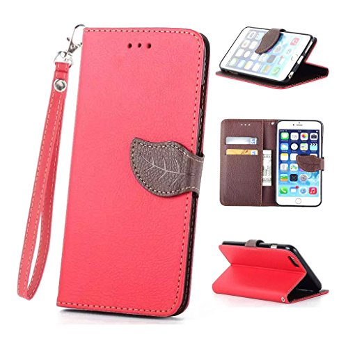 Nutbro [iPhone 6/6S] iPhone 6 Case,iPhone 6 Wallet Case,[Wallet] Leather Cover [Flip Cover] with Foldable Stand, Pockets for ID, Credit Cards for iPhone 6/6S Red