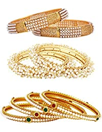 Penny Jewels Designer Gold Plated Antique Combo Pearl Bangle Set (Set Of 4)