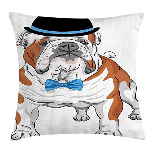 ZMYGH English Bulldog Throw Pillow Cushion Cover, Pure Breed Hipster Dog with Vintage Hat and Bow Tie Sketch Animal, Decorative Square Accent Pillow Case, 18 X 18 inches, Brown Black Blue (Bulk Bow Red Ties)