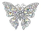 Alilang Frauen Aurora Borealis Kristall Strass Flügel Silberfarbrig Schmetterling Bunt Mode Brosche
