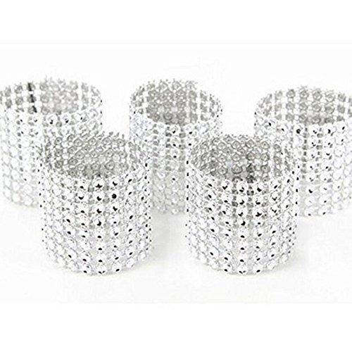 10 STÜCKE Silber 8 Reihe Kunststoff Mesh Diamant Serviettenring/Serviette Schnalle Nützlich und PraktischCarry Stone Mesh-serviette