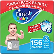 Fine Baby Diapers, DoubleLock Technology , Size 3, Medium 4–9kg, Jumbo Pack. 3 packs of 52 diapers, 156 total