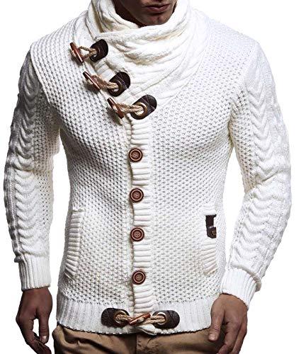 LEIF NELSON Herren Strickjacke Pullover Hoodie Jacke Sweatjacke Sweatshirt Sweater Pulli Winterjacke Freizeitjacke LN4195 (XXX-Large, Weiss/Beige)