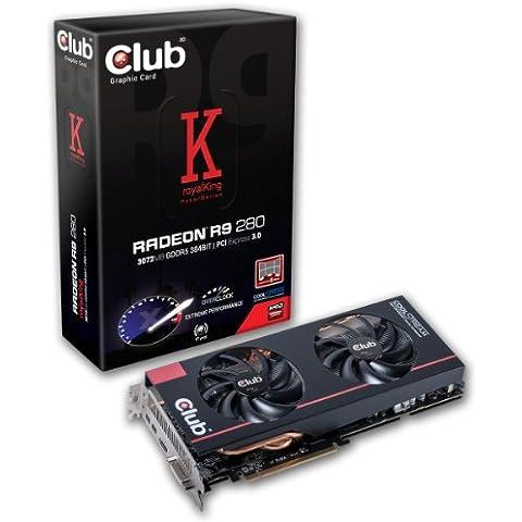 Club 3D KingRoyal - Tarjeta gráfica VGA (ATI Radeon 3D R9 280, 3 GB DDR5, PCIe, HDMI, DVI)