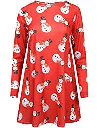Lush Clothing Women's Long Sleeve Christmas Dress Uk 8-10 Red Snowman