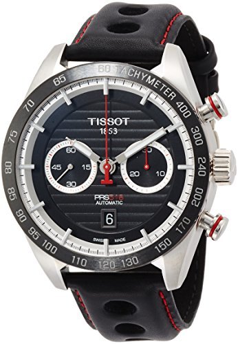 Tissot Men's Leather Band Steel Case Automatic Black Dial Chronograph Watch T1004271605100