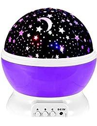 Lámpara Infantil GRDE, Regalo Para Niñas Lámpara Proyector Rotación 360 Grados de Estrellas y Cosmos