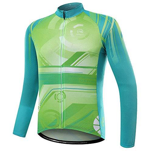 Xhtoe Radfahren Tops Männer und Frauen Herbst langärmelige Hemden Feuchtigkeit Wicking schnell trocknend Mountain Bike Jersey Quick-Dry Breathfahrrad Tops (Farbe : A1, Größe : XL) -