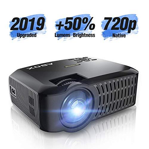 Vidéoprojecteur Natif 720p +50% de luminosité avec Grand Ecran de 176 Pouces Mini projecteur LED Full HD 1080p Prend en Charge HDMI USB SD VGA AV pour Ordinateur Portable, Smartphone Noir - ABOX A2