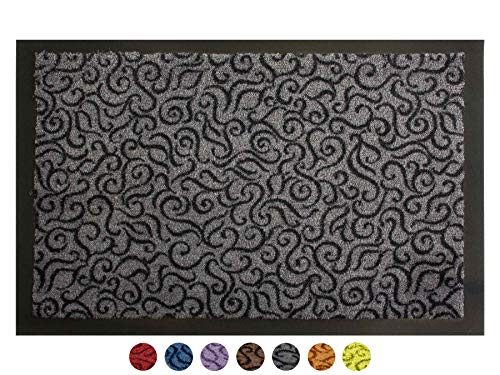 Schmutzfangmatte Türvorleger BRASIL Sauberlaufmatte - 90x150 cm, Grau, Fußmatte Rutschfest, Waschbar, für Innen und Außen Geeignet