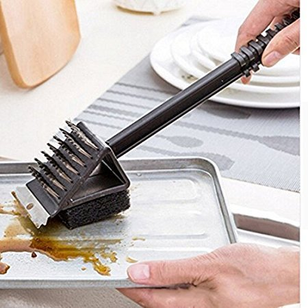 HOKIPO® 3 in 1 Long Handled BBQ Grill Cleaning Brush with Scrapper
