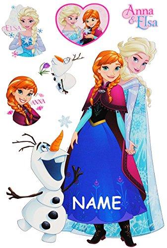Unbekannt 6 TLG. Set _ Fensterbilder -  Disney die Eiskönigin - Frozen  - incl. Name - Sticker Fenstersticker Aufkleber - selbstklebend + wiederverwendbar - Fensterbi..