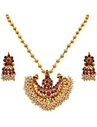 JFL - Traditional Ethnic One Gram Gold Plated Pink Stone Designer Pendant Set For Women And Girls