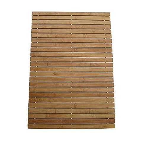 Foldable Bamboo Step SPA Mat Indoor/Outdoor Bath, Shower and Floor Mat Non Slip Bottom water Resistant Vented Design HomeToilet bathroom Spa Sauna Mat (L23.6