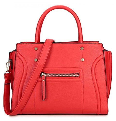 Leahward® Ladies Fashion Essener Celebrity Tote Bag Borse In Ecopelle Borsa Rossa Con Un Comparto Con Cerniera