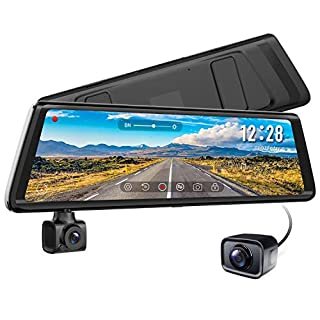 AUTO-VOX A1 Stream Media Mirror Dash Cam 1080P Dual Dash Cam Front and Rear 270° Rotatable Rear View Mirror Camera 720P AHD Reversing Camera with Night Vision,In-Car Status,Parking Mode
