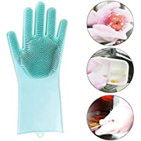 SOWLFE Magic Silicone Cleaning Brush Scrubber Gloves Heat Resistant,for Dish wash, Cleaning, Pet Hair Care,Reusable Silicone Gloves