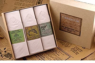 Tamielle - Set of three mens white handkerchiefs with different fly fishing motifs - 40cm x 40cm from Tamielle