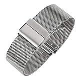 Luxus high end mesh Armband Mode Band Metall milanese Riemen Deluxe ersatz Armband für Uhr mit Solider Sicherheit faltschließe, 316l Edelstahl, für männer und Frauen