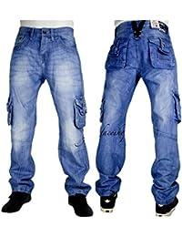 Vrai Peviani Pour Hommes Cargo G Jeans, Étoile Combat Hip Hop Urbain Time Is Money Pantalon Bleus Pierre