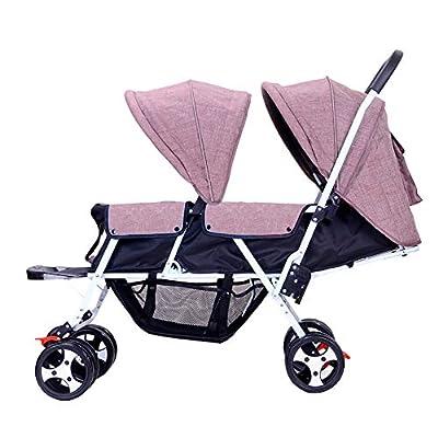 Twin pushchairs zxmpfg Cochecito Doble Ligero, fácil de Plegar, fácil de Sentarse o acostarse, Cuatro Estaciones Disponibles para recién Nacidos