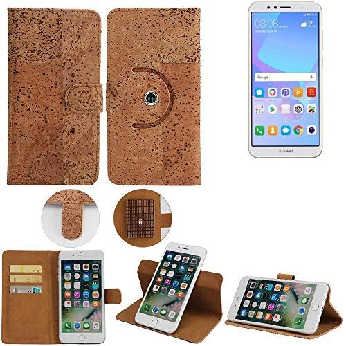 K-S-Trade Schutz Hülle für Huawei Y6 (2018) Dual-SIM Handyhülle Kork Handy Tasche Korkhülle Handytasche Wallet Case Walletcase Schutzhülle Flip Cover Smartphone