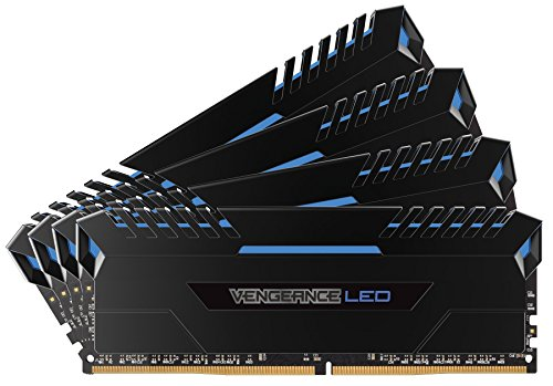 Corsair Vengeance LED Kit di Memoria Illuminato LED Entusiasta 64 GB (4x16 GB), DDR4 3000 MHz,C15 XMP 2.0, Nero con Illuminazione a LED Blu