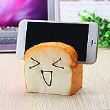 Rishil World Jumbo Squishy 7 Seconds Slow Raising Slice Toast Joy Happy Faces Mobile Phone Seat Cell Phone Holder