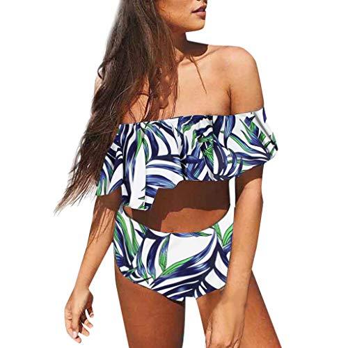 iYmitz Damen Schulterfrei Bikinis Gepolsterter Neckholder Push-Up-BH Hohe Taille Bikini Set...