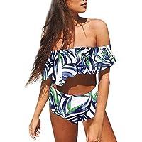 Luckycat Mujeres Verano Cintura Alta Vintage Push Up Bikini Traje De Baño Beachwear Talla Alta, Mujeres Sexy One Piece Ruffles Bikini Push-Up Acolchado Traje de baño Traje de baño