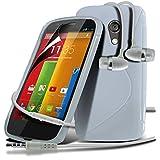 Motorola Moto G White Elegant Premium S-Linie Wellen-Gel-Kasten-Haut-Abdeckung mit LCD-Display Schutzfolie, Poliertuch & Hands Free-Ohrhörer mit Mikrofon Mic & On-Off-Taste Einbau by Spyrox