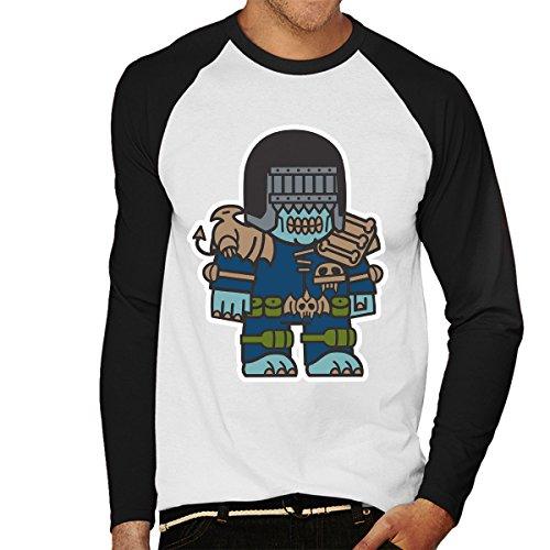 Mitesized Judge Death Dredd Men's Baseball Long Sleeved T-Shirt White/Black