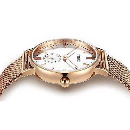 Time100 Orologio donna acciaio con un cinturino in tela di omaggio, movimento al quarzo#W80188G.01A (Oro