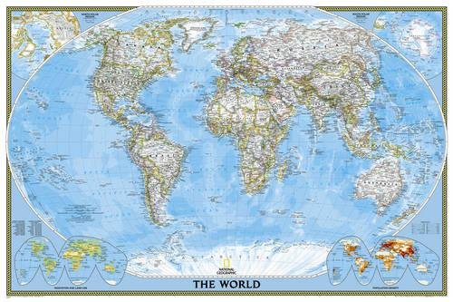World Classic, poster size, laminated : Wall Maps World (Reference - World)
