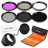 K&F Concept 55mm 6pcs Lens Accessory Filter Kit UV Protector Circular Polarizing Filter Neutral Density Filter for Sony A37 A55 A57 A65 A77 A100 DSLR Cameras - Includes Filter Kit( UV+CPL+FLD,ND2+ND4+ND8) + Microfiber Lens Cleaning Cloth + Petal Lens Hood + Center Pinch Lens Cap + Filter Bag Pouch