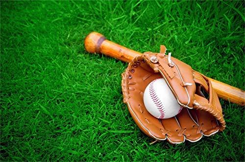 Cassisy 1,5x1m Vinyl Sport Fotohintergrund Amerikanischer Fußball Baseball Handschuhe Bat Grüne Grasfelder Fotoleinwand Hintergrund für Fotoshoot Fotostudio Requisiten Party Kinder Photo Booth