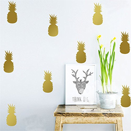 yanqiao-10pcs-set-luxe-modern-style-home-decor-art-print-minimalist-faux-gold-foil-tropical-pineappl