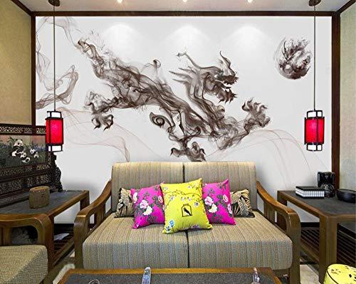 Benutzerdefinierte Größe Tapete Fresko abstrakte Tinte Tinte Drache Tinte Rauch Landschaft Stimmung TV Hintergrund Wandbilder 3d Tapete, 200 * 140cm