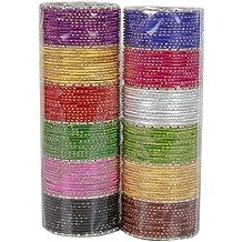 MUCHMORE Unique 12 Color Multicolor Metal Plain Bangle Set for Women