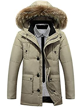 Nueva grueso cuello de la piel de los hombres de la capilla de invierno por la chaqueta , khaki , m