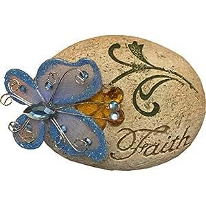 """""""Schmetterling"""", Glitzer, Aufschrift """"Faith"""", Stone Blue"""