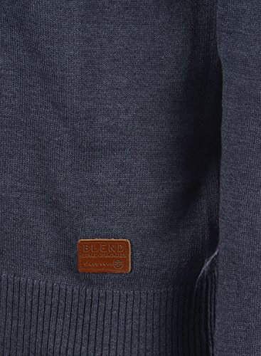 ... BLEND Lars Herren Strickpullover Feinstrick Pulli mit Rundhals- Ausschnitt aus hochwertiger Baumwollmischung Meliert Navy (