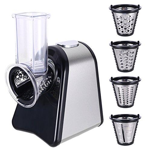 MeyKey Elektrisch Schnitzelwerk Versnipperaar Roestvrij Staal Groenteschaaf Salatschneider Met 5 Raspel en Snijkant Opzetstukken, 150 watt(Silver)