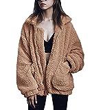 Minetom Femme Mode Hiver Chaud Peluche Blouson Manteaux Veste Casual Couleur Unie Style De Rue Zipper Manteau Chameau FR 38
