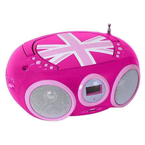 BigBen - AU327434 - Tragbares CD/Radio CD32 - Union Jack in Pink (Rosa Und Cd-player Lila)