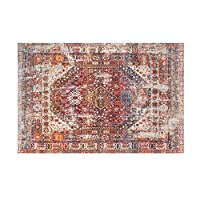 Traditional Vintage Oriental Area Rug, Red, Floor Carpet for Living Room Bedroom Easy Clean (140 x 200cm)