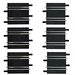 Carrera- GO 143 Rectas Cortas de 10.0 cm/11.4 cm (3 de Cada una), Escala 1:43, Color Negro (20061658)