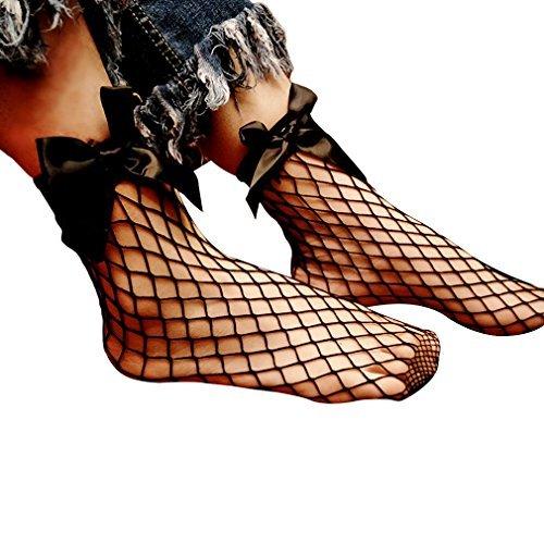 GONO schwarz Schleife Dicke Mesh Socken Knöchel Fischnetz Socken - Knöchel Fischnetz-socken