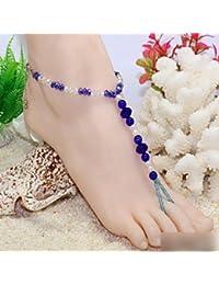 HuaYang Style Hawaii Bracelet de Cheville Chaîne Bijoux Pied Perle Blue Pour les Femmes