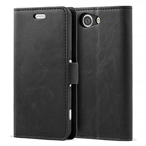 Mulbess Sony Xperia Z3 Compact Hülle Leder, Handyhülle für Sony Z3 Compact Klapphülle Tasche Leder Flip, Schwarz